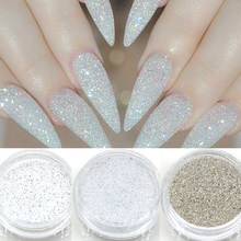 1g Shiny Nail Glitter Sequins 3D Silver White Hexagon Sequins Sparkly Flakes Sandy Powder Dust For Manicure Nails Art Decoration