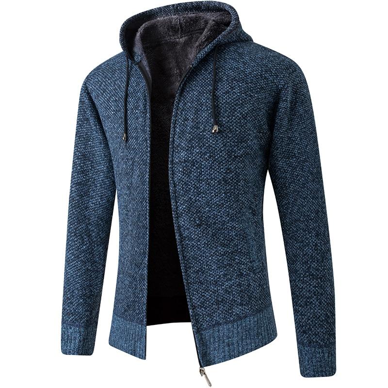 2020 New Cardigan Mens Hooded Collar Fleece Warm Sweaters Coat Men Coat Hoodies Jacket Thick Full  Solid Cardigan Male Coats 5
