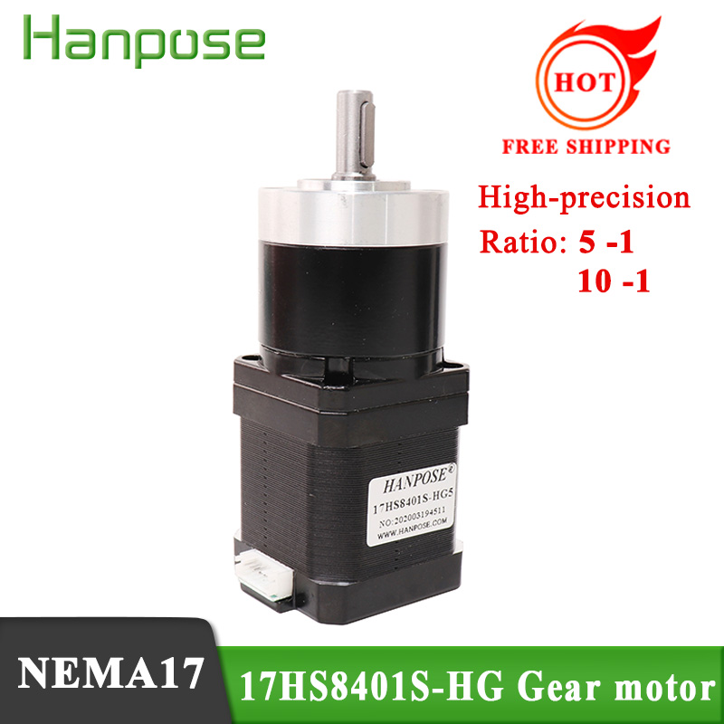 Free shipping <font><b>NEMA17</b></font> <font><b>Gear</b></font> motor 17HS8401S-HG ratio 5:1 10:1 high precision reduction stepping motor gearbox 1.8A 52N.cm 48mm image