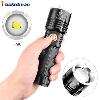 Pocketman XHP90 LED latarka USB ładowalna latarka latarka taktyczna XHP50 latarka wodoodporna latarka o dużej mocy nowy tanie i dobre opinie CN (pochodzenie) Odporny na wstrząsy Samoobrona Twarde Światło Regulowany AK47 500 metrów 5-8 plików camping fishing hunting