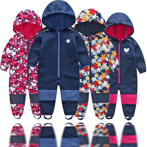 Image 1 - Childrens soft shell plus velvet integrated windproof and rainproof jumpsuit Childrens waterproof jumpsuit, warm jumpsuit,