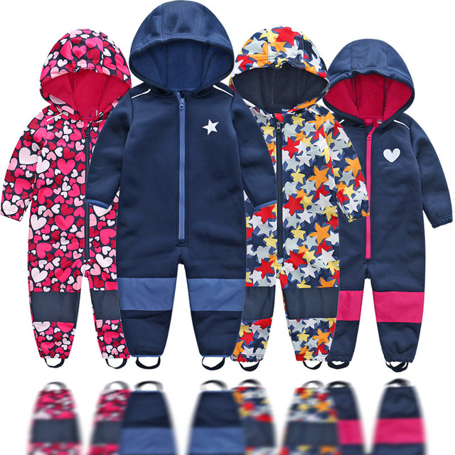 Childrens soft shell plus velvet integrated windproof and rainproof jumpsuit Childrens waterproof jumpsuit, warm jumpsuit,