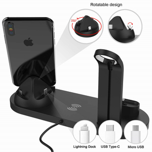 Image 3 - Qi Wireless Charger 4 in 1 Apple Watch Charger Dock iphone Charging Station Micro USB Type C Stand Fast Charging For All Phone