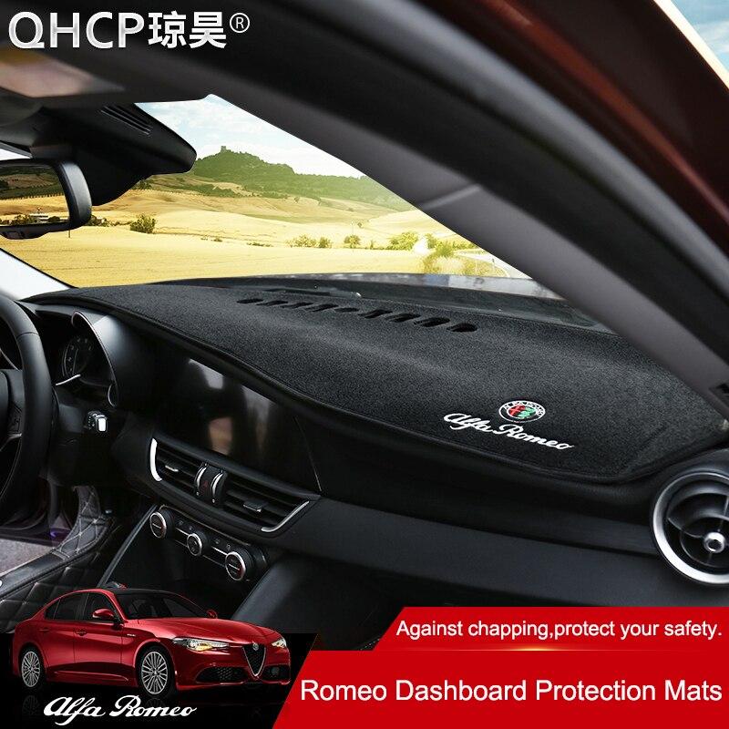 QHCP tapis de tableau de bord de voiture éviter coussin de lumière du soleil en peluche Instrument couverture tapis 1 pièces pour Alfa Romeo Giulia Stelvio accessoires intérieurs