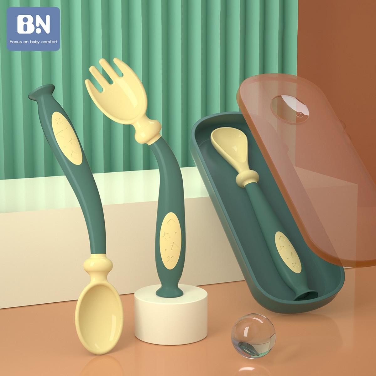 Силиконовая ложка BN для детей, набор посуды, вспомогательная еда для малышей, обучение съедобному обучению, гибкая мягкая вилка для младенц...