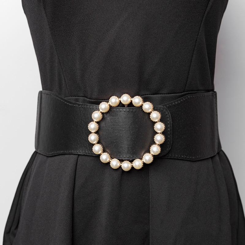 2020 Fashion Pearl Corset Belt Wide Waist Belts For Women Elastic Plus Size Dress Cummerbund Ceinture Femme Wedding Waistband