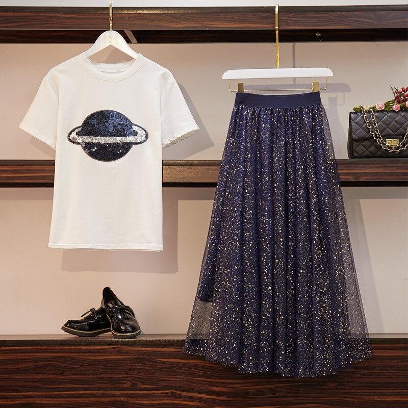 2019 Large Size Dress Fat Mm Summer Wear Short Sleeve Sequin T-shirt Tops Plus Gauze Joint Skirt Fashion Two-Piece Set