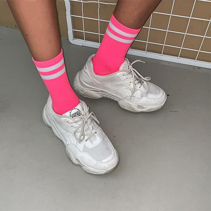 Fashion Neon Green Hot Pink Casual Women Striped Patterned Socks Harajuku Cool School Girls Candy Color Fluorescence Loose Socks