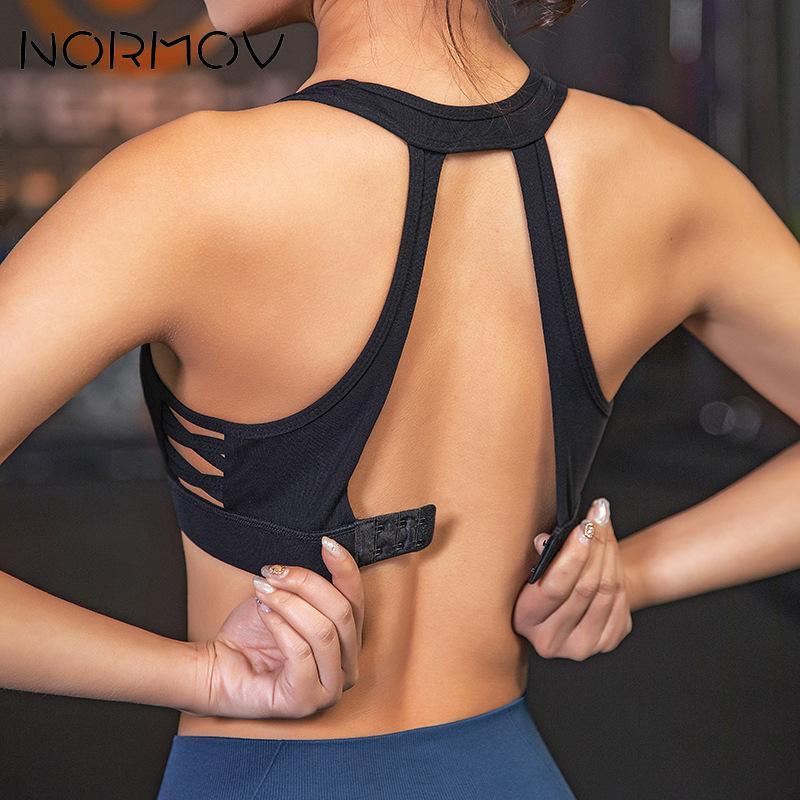 NORMOV-soutien-gorge de Sport Push Up sans couture, vêtements pour Fitness, haut court, brassière pour Yoga, Gym