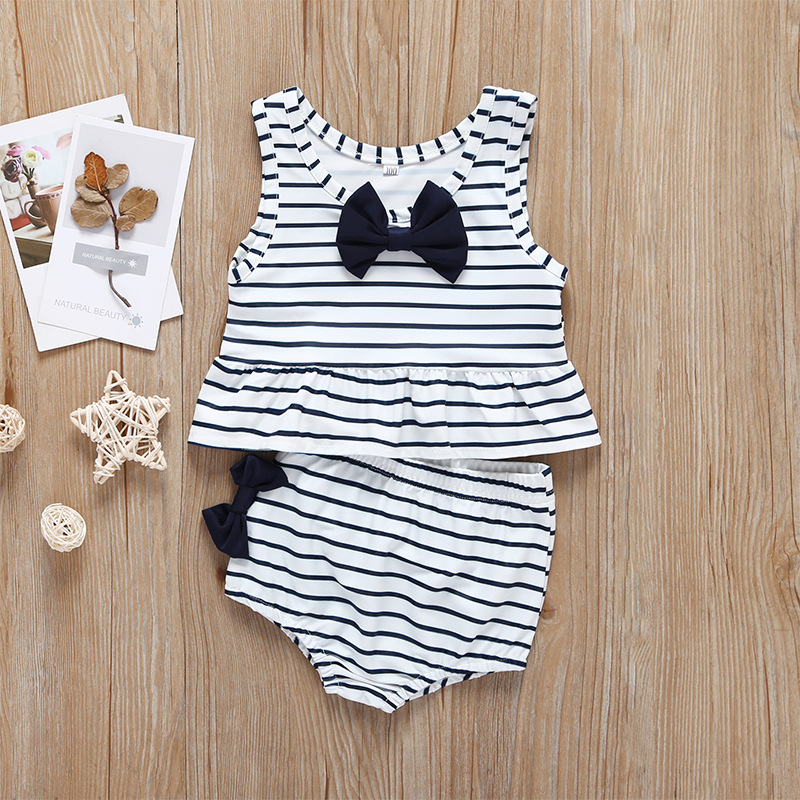 2019 Summer Girls' Swimwear Set Stripes Bow Cute Small Fresh New Style Swimming Two-Piece Set