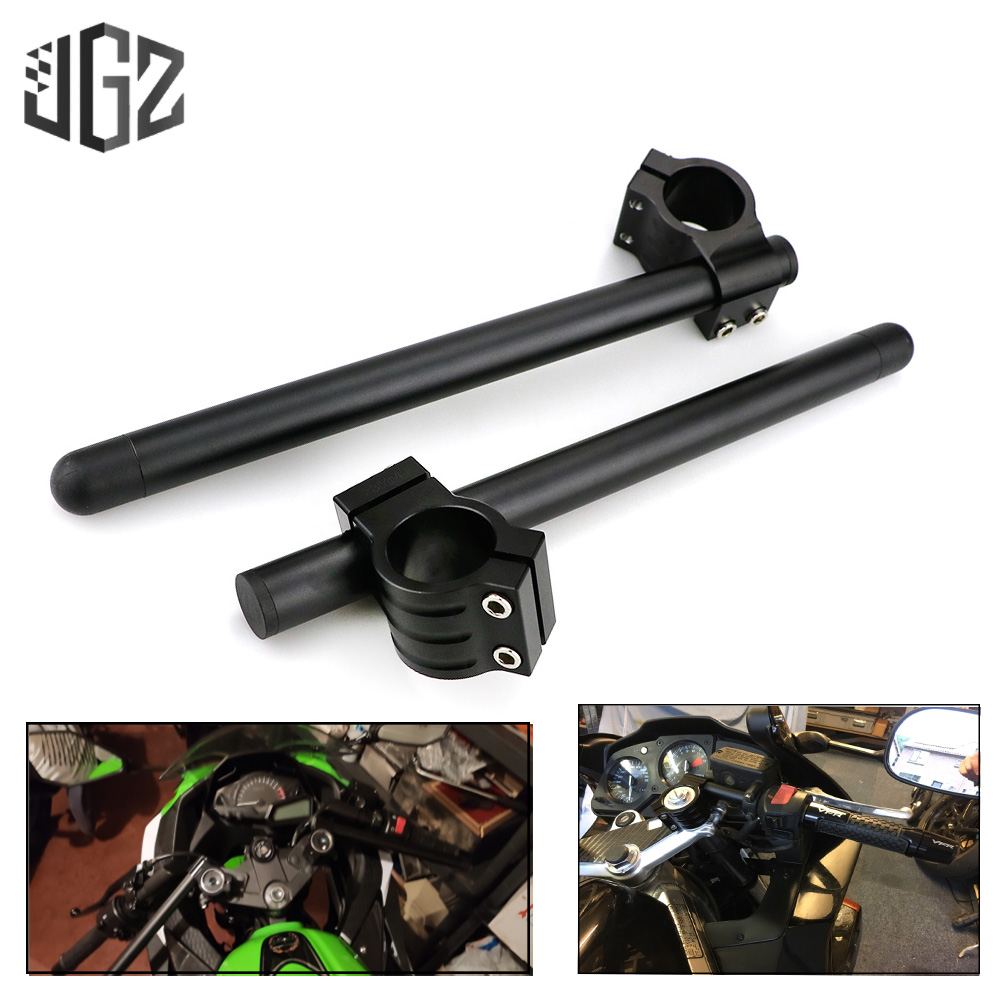 33mm Motorcycle Clip On Fork Tube Handlebar for <font><b>Honda</b></font> CB <font><b>CL</b></font> CJ CM CX 360 Kawaski KZ <font><b>400</b></font> 440 Suzuki GN GT GS 450 Yamaha XV XS 250 image