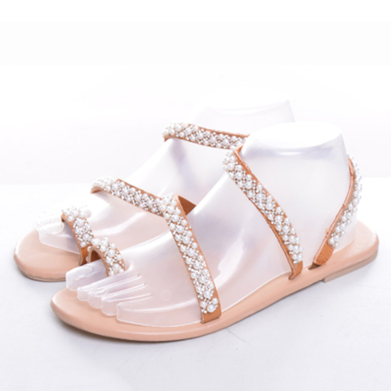 Summer Flat Sandals Sweet Boho Pearl Decoration Sandals Leather Flats Plus Size Women Beach Sand Holiday Shoes 7