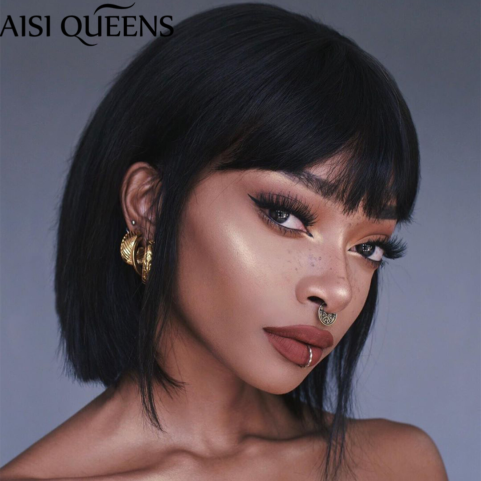AISI QUEENS Short Straight Black Wigs Synthetic Wigs for Women Pink Purple Red Daily Hair High Tempearture Fiber