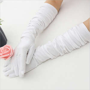 Classic Adult Black White Red Grey Skin Opera/Elbow/Wrist Stretch Satin Finger Long Gloves Women Flapper Gloves Matching Costume