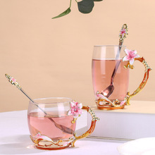 Enamel Lily tea cup creative light luxury glass household high grade water cup girlfriend Valentine's Day gift