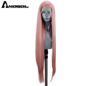 Image 2 - Anogol Blue Red Pink Grey Black White Blonde Synthetic Lace Front Wigs Long Natural Straight for Women High Temperature Fiber