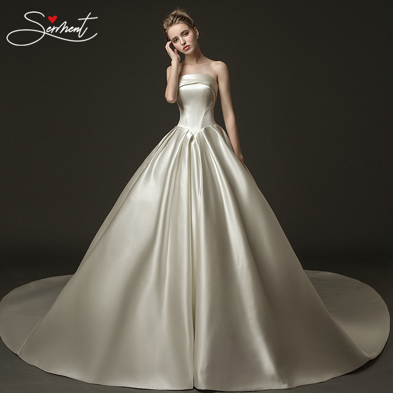 OLLYMURS Elegant Bride Satin Silky Wedding Dress Off The Shoulder Lace Up Boat Neck Royal Train 100cm Plus Size Wedding Dress