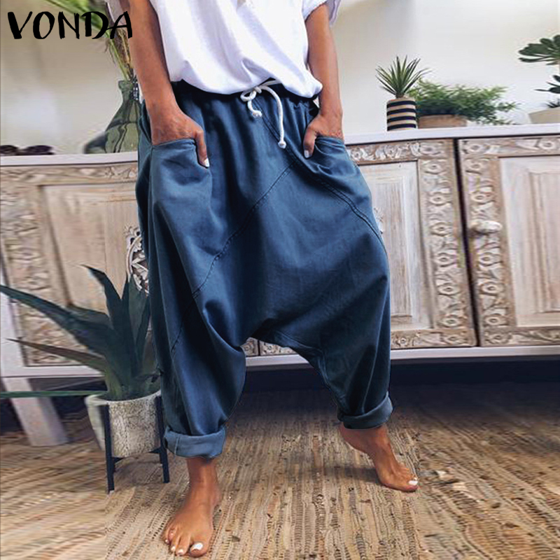 VONDA Harem Trousers Casual Solid Color Womens Trousers Plus Size Wide Leg Pants Female Bohemian Summer Bottom S-5XL