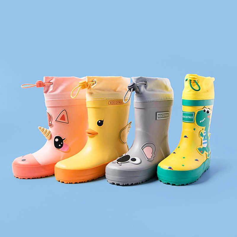 Botas de lluvia ULKNN para niños, bonitas botas de goma con dibujo de unicornio, botas impermeables para niños Kalosze Dla dzireci