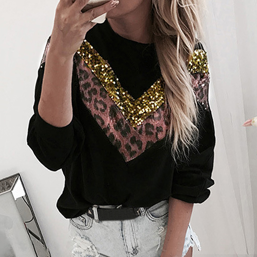Fashion Casual Leopard Chic Women Long Sleeve Sequins Patchwork Stitching Sweatshirt Autumn Teen Girls Sweatshirt Tops