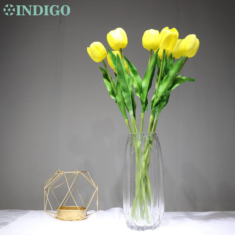 INDIGO - 5PCS/Lot Holland PU Yellow Tulip Decorative Artificial Flower Wedding Flower Home Hotel Party Event Decoration-1