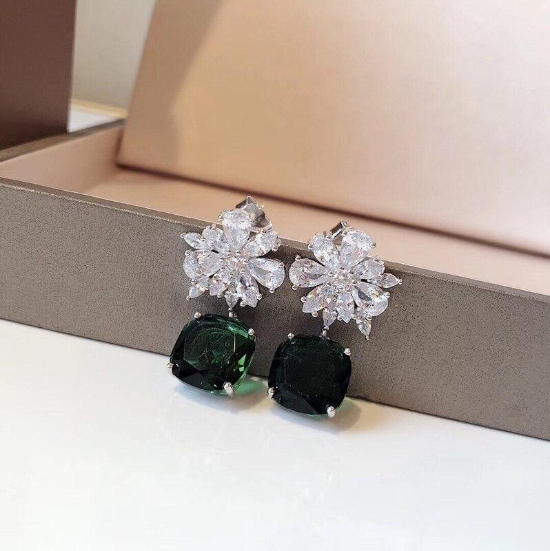Nouvelle marque de mode bijoux femmes vert carré bonbons boucles d'oreilles 925 en argent sterling fleur boucles d'oreilles pour les filles