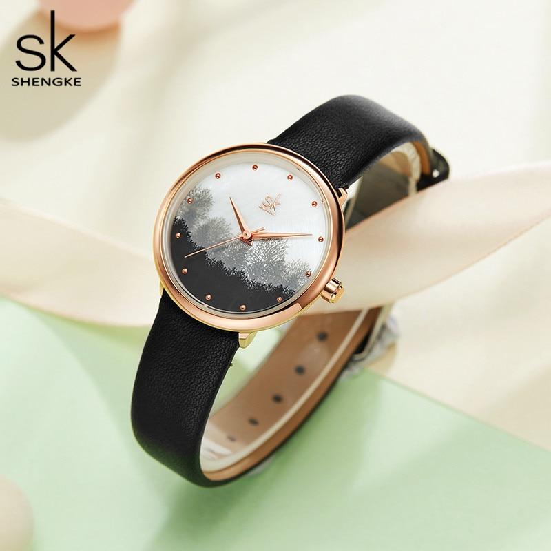 Shengke Luxury Rose Gold Women Bracelet Watches Ladies Creative Quartz Watch Montre Femme SK Women Wrist Watch #K9020