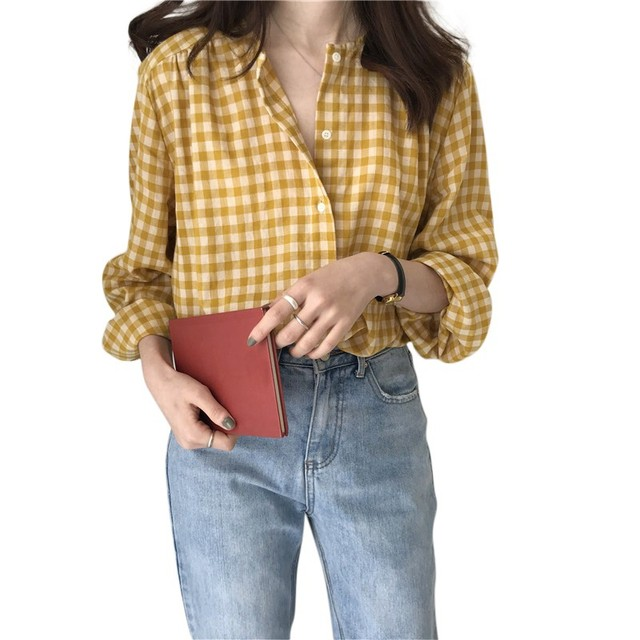 Simple Women Spring Summer Blouse Shirts Plaid Fashionable Single Breasted Casual Loose Wild Sweet Pink Tops 4