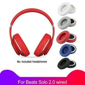 Image 1 - 2 יח\חבילה אוזן רפידות רך כרית לbeats Solo 2 סולו 2.0 wired גרסה החלפת חלקי אוזניות ספוג כיסוי מחממי אוזניים earpad