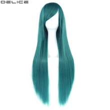 Delice 32 Womens Long Straight Colorful Wig High Temperature Fiber Synthetic Hair Green Pink Cosplay Wigs