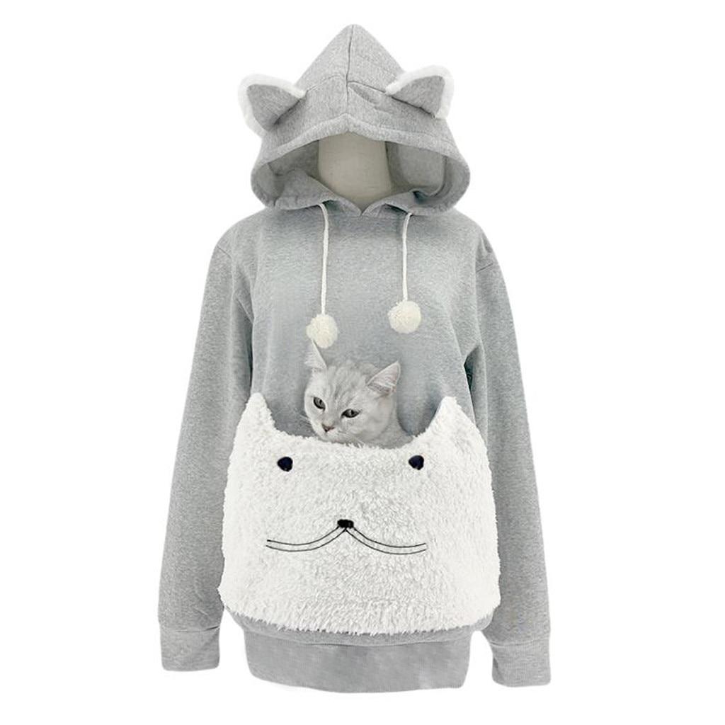 Futurino Womens Casual Cat Animal New York Print Crop Top Sweatshirt