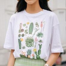 Cactus flower 2019 Women Summer T shirt Short Sleeve Kawaii Korean Style tops White cartoon Print Cotton Fashion Funny Clothes