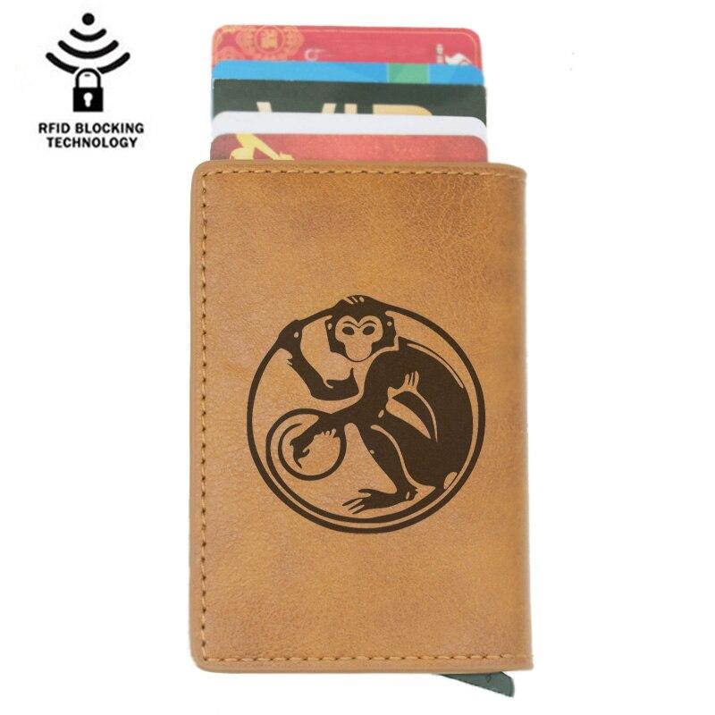Vintage Classic Animal Monkey Rfid Card Holder Men Wallets Brown Short Purse Leather Slim Wallets Mini Wallets