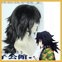 Аниме Demon Slayer Tomioka Giyuu косплей парик Kimetsu no Yaiba черный пушистый хвостик синтетические волосы Хэллоуин ролевые игры для взрослых