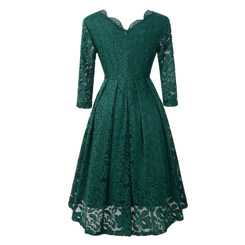 V-neck Knee-length Green Lace Women Dress