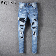 PYJTRL Trousers Men Fashion Crystals Inlaid Jeans With Hole Patch Spray Paint Splash Ink Elastic Slim Pants Streetwear