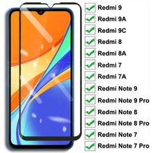 9D vidrio templado para Xiaomi Redmi 9 9A 9C 8 8A 7 7A pantalla cristal Protector Redmi 10X Nota 8 8T 7 9S 9 Pro vidrio de máxima protección