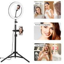 10 pollici Desktop Video LED Anello di Luce Della Lampada 3 Modalità di Carica USB Per YouTube Video In Tempo Reale della Rete di Registrazione Broadcast Selfie trucco