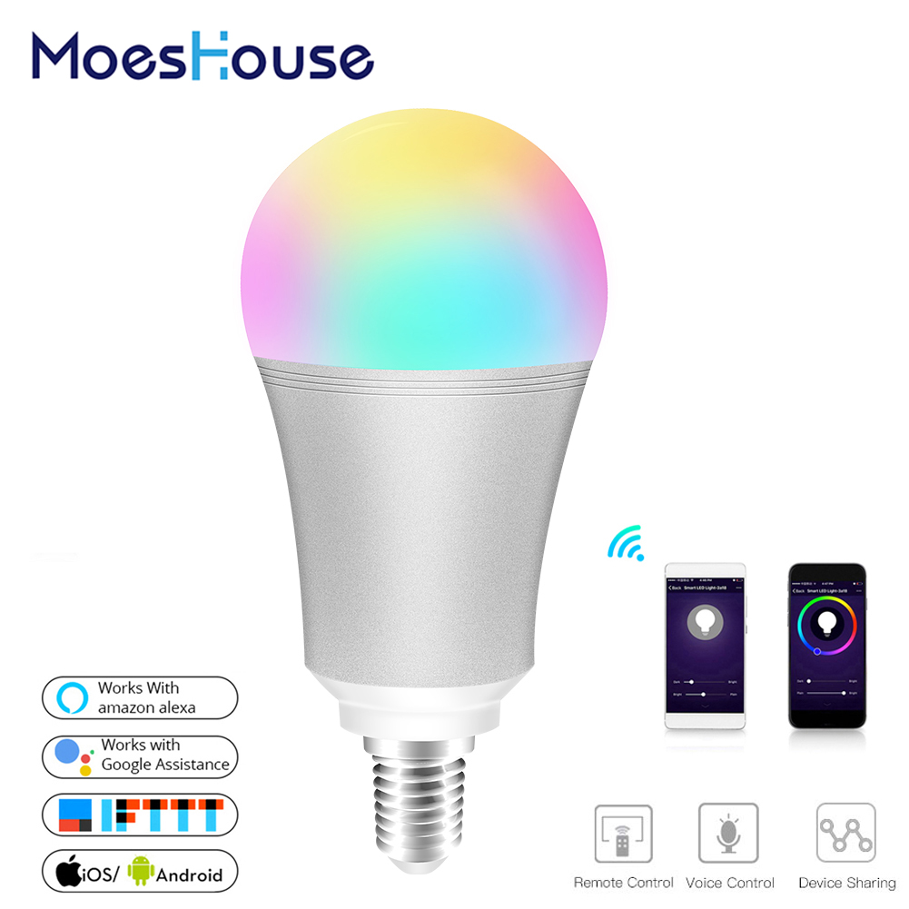 WiFi Smart Light Bulb Intelligent Colorful LED Lamp 7W RGBW APP Remote Control Works With Alexa Google For Smart Home E14