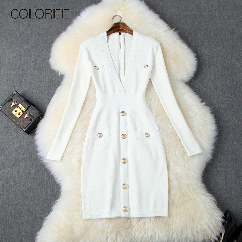 COLOREE automne 2019 femmes Mini robe piste concepteur à manches longues Sexy col en v profond blanc/noir robe Vintage boutons robe en tricot