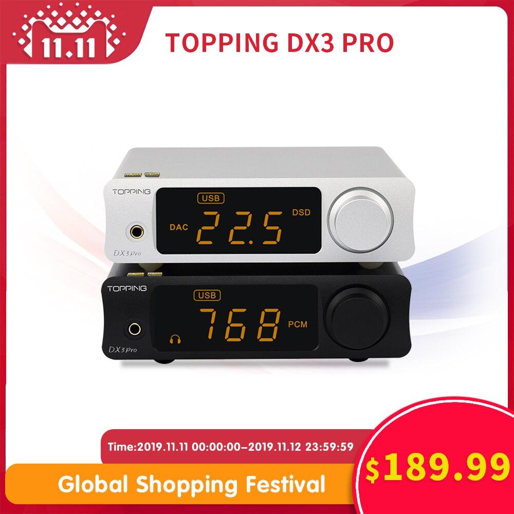 Topping dx3pro ldac alta fidelidade usb dac bluetooth 5.0 saída de fone de ouvido decodificador áudio xmos xu208 ak4493 opa1612 dac dsd512 óptico