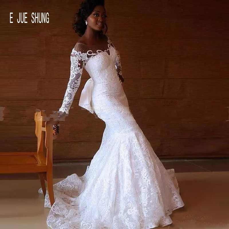 E JUE SHUNG African Full Lace Mermaid Wedding Gowns Long Sleeves Sheer Beaded Scoop Neck With Bow Wedding Dresses Robe De Mariee