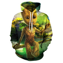Marvel Groot 후드 티 스웨터 남성/여성 New Fashion Hip Hop Hoodie 하라주쿠 streetwear 캐주얼 후디 2019 Mens Pullover Jacket(China)