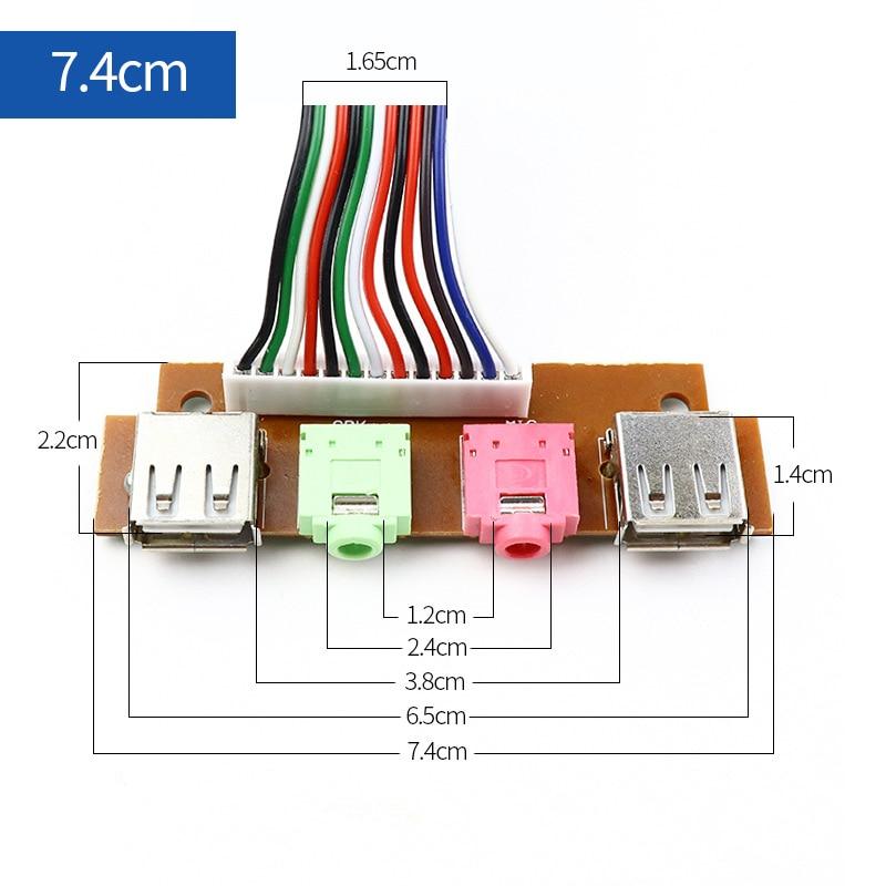 7.4CM 65CM PC ordinateur câbles et connecteurs boîtier panneau avant USB/ Audio avant USB 2.0 prise garde étendre micro écouteurs câbles d'alimentation