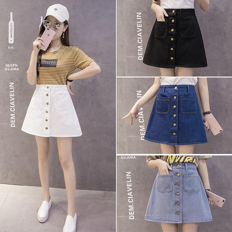 2019 Summer Korean-style Skirt WOMEN'S Dress High-waisted A- Line Skirt Slimming Dual Pocket Short Skirt Denim Skirt Fashion