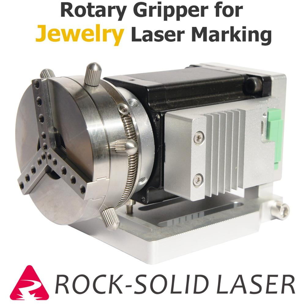 Rotary Gripper Fixture For Jewelry Ring Laser Marking Welding Machine Parts Rotate Jig Shaft Build With Step Motor Driver