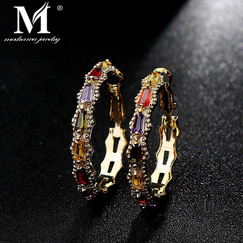 AAA יוקרה נשי גביש זירקון אבן עגילי אופנה נחושת CZ זהב רומנטי עגול להתנדנד עגילים לנשים תכשיטי חתונה
