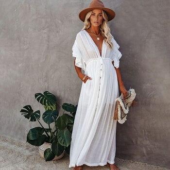 Sexy Bikini Cover-ups Long White Tunic Casual Summer Beach Dress Elegant Women Plus Size Beach Wear Swim Suit Cover Up Q1208