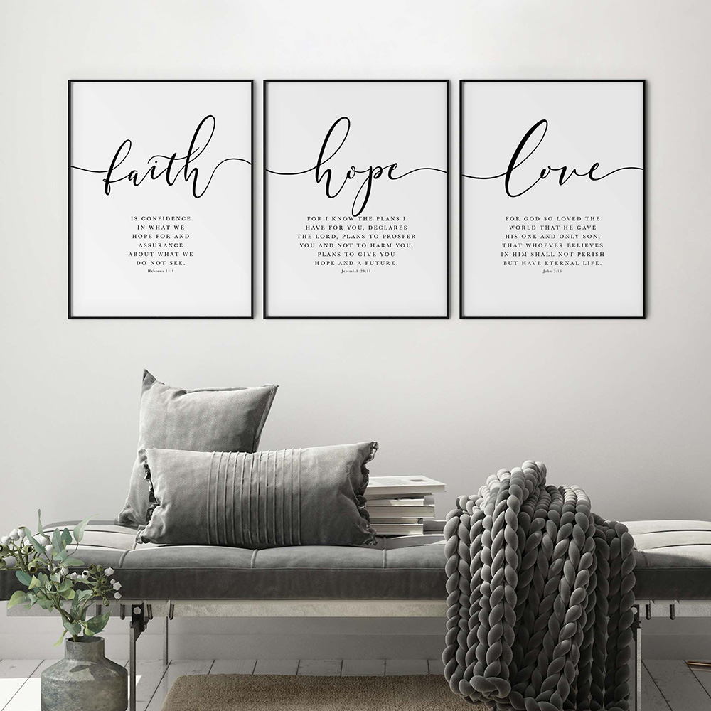Библейский стих, Постер и печать, Вера, Надежда, любовь, искусство, печать, христианские цитаты, холст, живопись, гостиная, настенные постеры