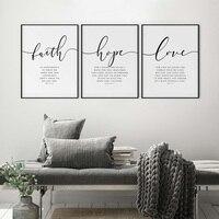 Bibel Vers Poster und Drucke Glaube Hoffnung Liebe Wand kunstdruck Christian Zitate Leinwand Malerei Wohnzimmer Poster auf die wand